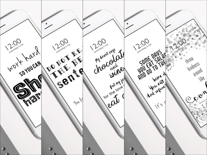 iPhone + Apple Watch wallpaper - monochrome quotes - debbieschrijft.nl