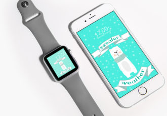 Wallpaper Wednesday: sweater weather free iPhone smartphone Apple Watch watch face wallpaper - mockup - ©debbieschrijft.nl