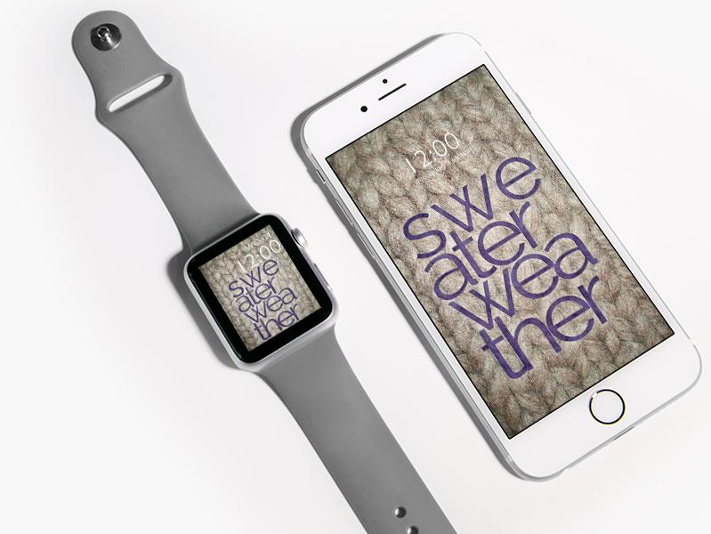Wallpaper Wednesday: sweater weather free iPhone smartphone Apple Watch watch face wallpaper - mockup - ©debbieschrijft.nl