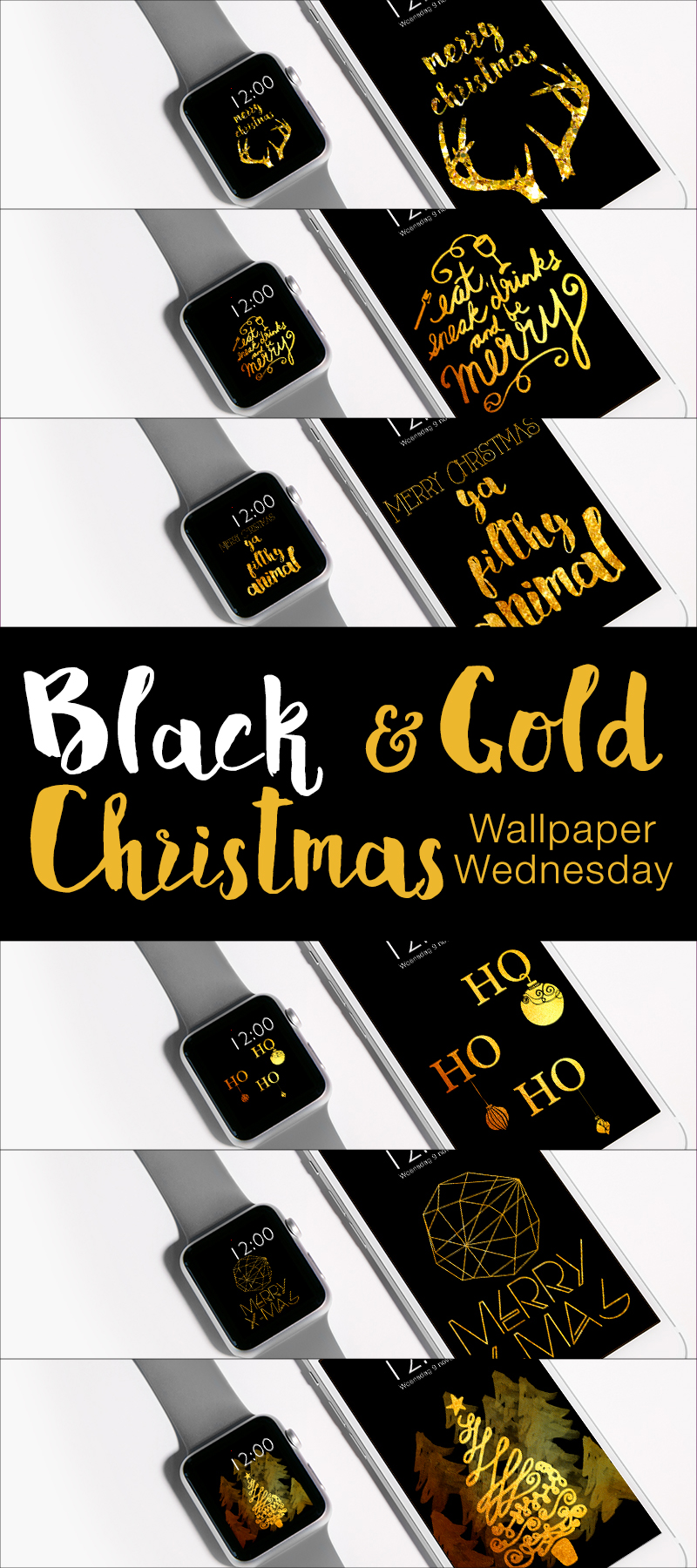 Wallpaper Wednesday - Black and Gold Christmas - ©debbieschrijft.nl