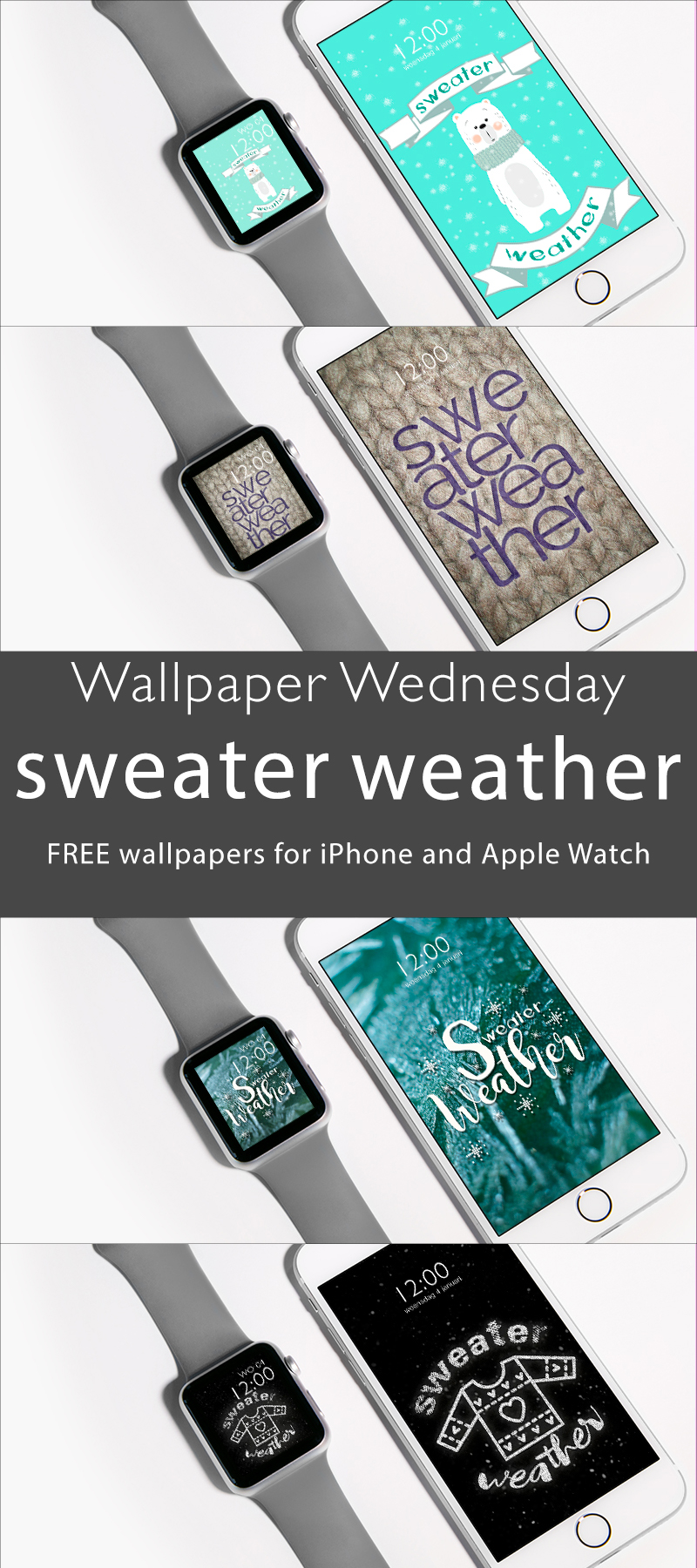 Wallpaper Wednesday: sweater weather free iPhone smartphone Apple Watch watch face wallpaper - ©debbieschrijft.nl